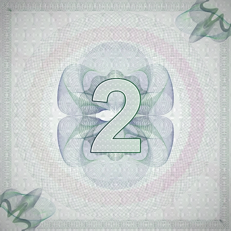 monetary: vector illustration of number 2 (two) in guilloche ornate style. monetary banknote background Illustration