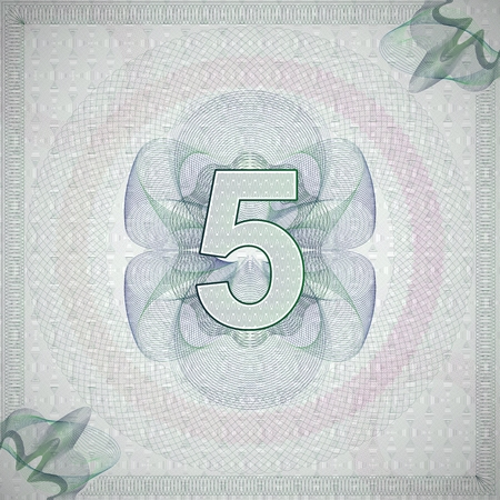monetary: vector illustration of number 5 (five) in guilloche ornate style. monetary banknote background Illustration