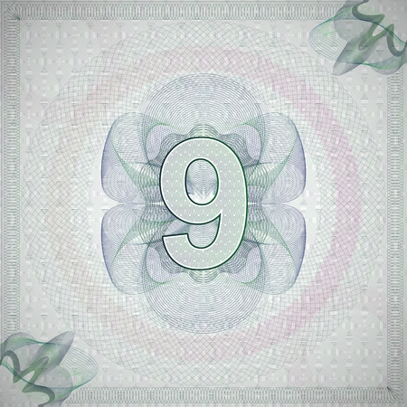 vector illustration of number 9 (nine) in guilloche ornate style. monetary banknote background