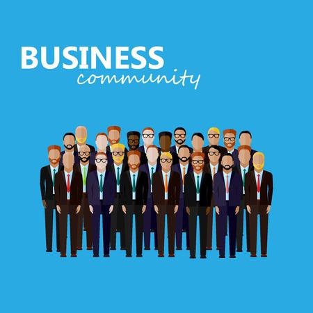 m�nner business: Vektor flache Darstellung der Wirtschaft oder Politik Community. eine gro�e Gruppe von Menschen (Gesch�ftsleute oder Politiker) tr�gt Anzug und Krawatte. Gipfel oder Konferenz Familie Bild Illustration