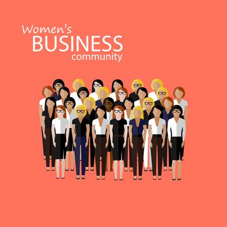 mujeres trabajando: ilustraci�n vectorial plana de comunidad empresarial mujeres. un gran grupo de mujeres (las mujeres de negocios o pol�ticos). imagen Cumbre o familiar conferencia