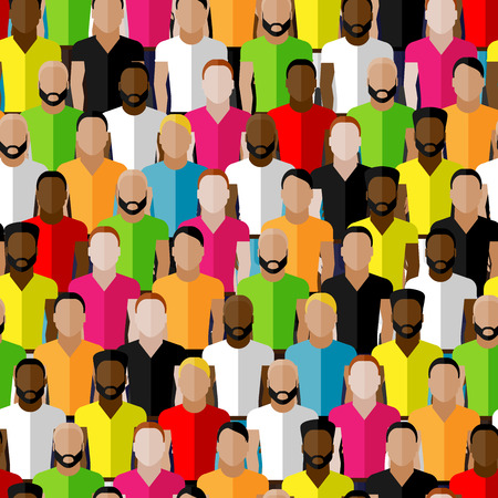 scandinavian people: vector seamless pattern with men crowd. flat  illustration of men community