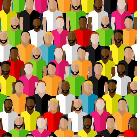 personas en la calle: vector sin patr�n con los hombres multitud. ilustraci�n plana de los hombres de la comunidad