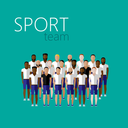 team sport: vector flat illustration with men group or community wearing sport uniform. sport team