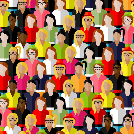 citizens: vector seamless pattern with a large group of girls and women. flat  illustration of female community.