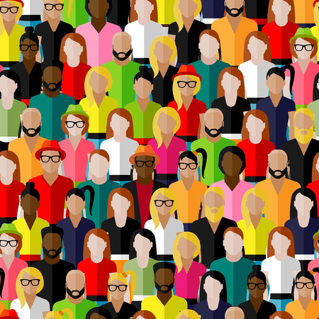 community: vector seamless pattern with a large group of men and women. flat  illustration of society members. population