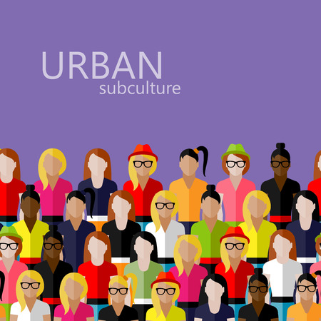 subculture: vector flat  illustration of female community with a large group of girls and women. urban subculture concept