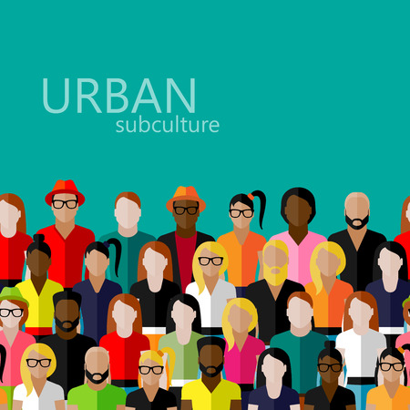 población: Ilustración del vector del plano de los miembros de la sociedad con un gran grupo de hombres y mujeres. población. concepto de subcultura urbana Vectores