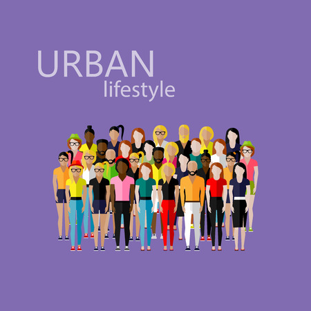 youth group: vector flat  illustration of society members with a large group of men and women. population. urban lifestyle concept