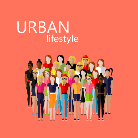 vector flat  illustration of female community with a large group of girls and women. urban lifestyle concept Ilustração