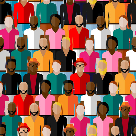 neighbourhood: vector seamless pattern with a large group of guys and men. flat  illustration of male community.