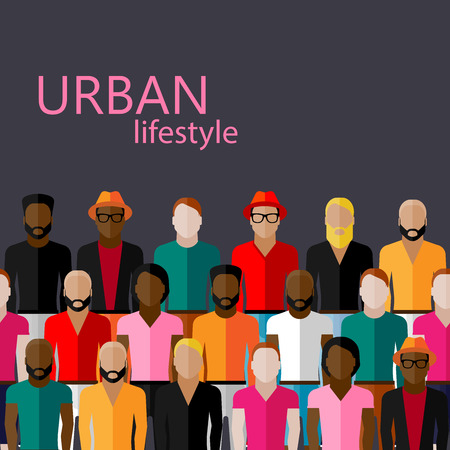 neighbour: vector flat  illustration of male community with a large group of guys and men. urban lifestyle concept