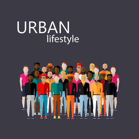 community health: vector flat  illustration of male community with a large group of guys and men. urban lifestyle concept