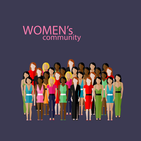 youth group: vector flat  illustration of women community with a large group of girls and women. feminist concept