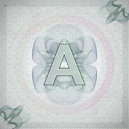 monetary: vector illustration of letter A in guilloche ornate style. monetary banknote background