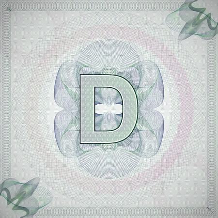 monetary: vector illustration of letter D in guilloche ornate style. monetary banknote background