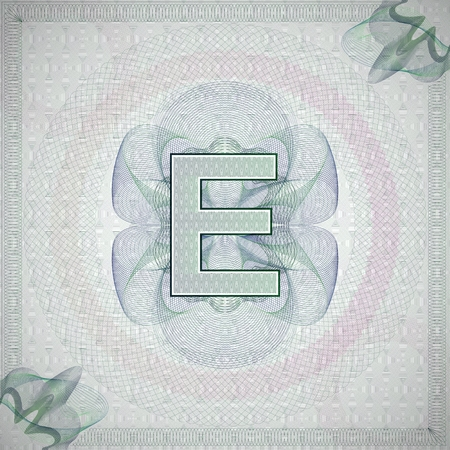 monetary: vector illustration of letter E in guilloche ornate style. monetary banknote background