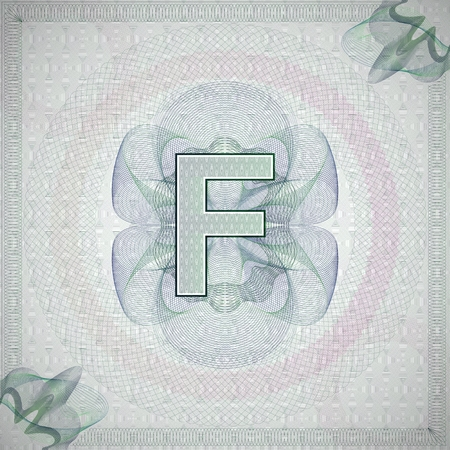 monetary: vector illustration of letter F in guilloche ornate style. monetary banknote background
