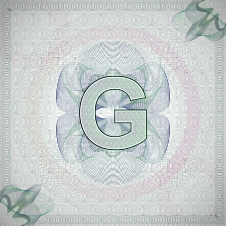 monetary: vector illustration of letter G in guilloche ornate style. monetary banknote background