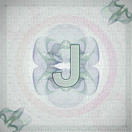 monetary: vector illustration of letter J in guilloche ornate style. monetary banknote background Illustration