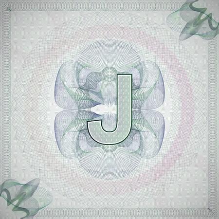 engravings: vector illustration of letter J in guilloche ornate style. monetary banknote background Illustration