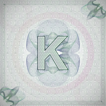monetary: vector illustration of letter K in guilloche ornate style. monetary banknote background Illustration