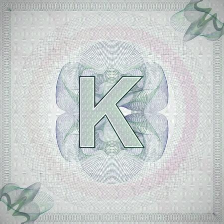 engravings: vector illustration of letter K in guilloche ornate style. monetary banknote background Illustration