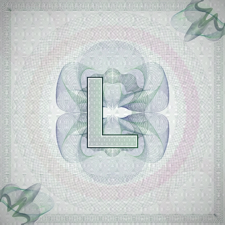 monetary: vector illustration of letter L in guilloche ornate style. monetary banknote background