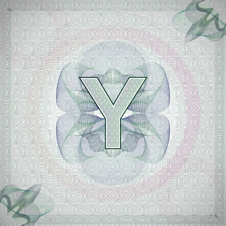 engravings: vector illustration of letter Y in guilloche ornate style. monetary banknote background
