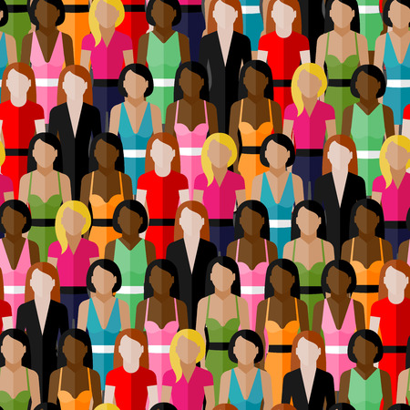 feminist: vector seamless pattern with a large group of girls and women. flat  illustration of female community.
