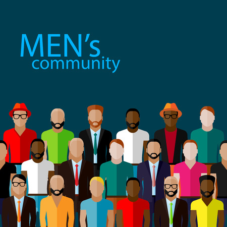 neighbourhood: vector flat  illustration of male community with a large group of guys and men. urban lifestyle concept