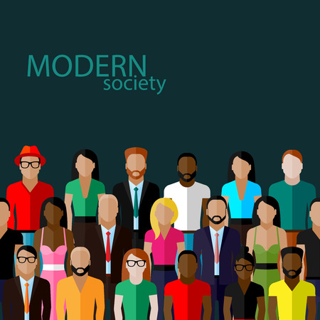 neighbourhood: vector flat  illustration of society members with a large group of men and women. population. modern society concept