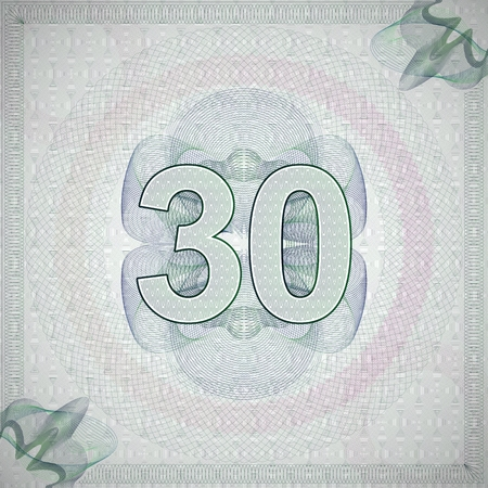 vector illustration of number 30 (thirty) in guilloche ornate style. monetary banknote background Vector