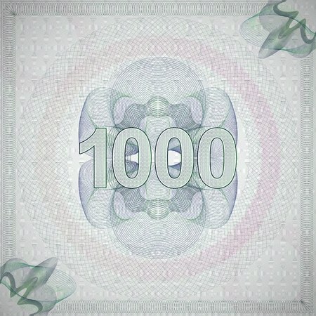 monetary: vector illustration of number 1000 (one thousand) in guilloche ornate style. monetary banknote background