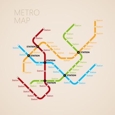 メトロ (地下鉄) のデザイン テンプレートをマップします。輸送の概念