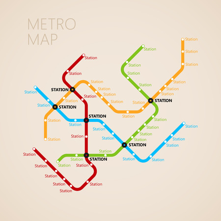 route map: metro (subway) map design template. transportation concept