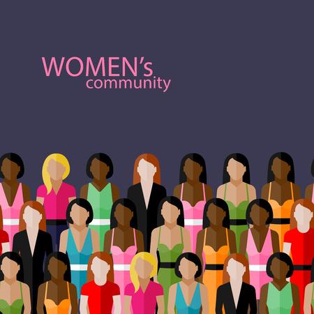 소녀와 여성의 큰 그룹과 여성 커뮤니티의 평면 그림 벡터입니다. 페미니즘 개념