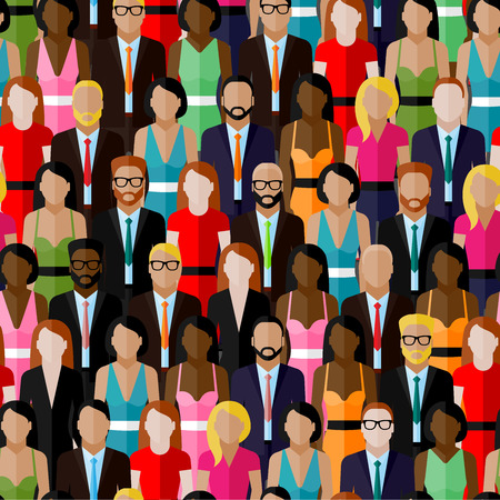 community work: vector seamless pattern with a large group of men and women. flat  illustration of society members. population. business elite community Illustration
