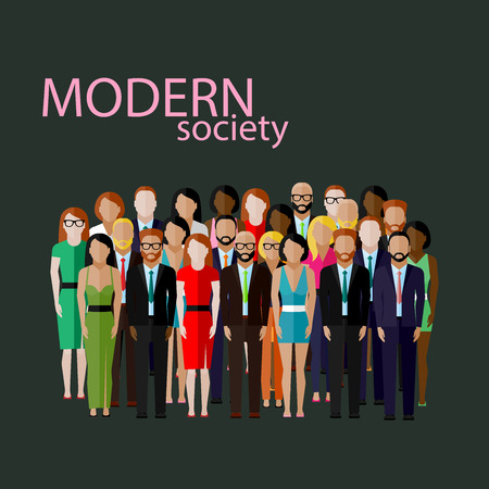 vector flat  illustration of business or politics community. a large group of well- dresses men and women (business men, business women or politicians) wearing suits, ties and dresses. summit or conference family image