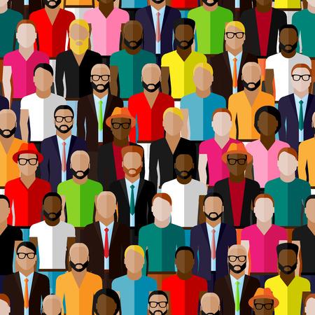 población: vector sin patrón, con un gran grupo de chicos y hombres. ilustración plana de comunidad masculina.