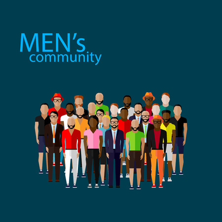 business fashion: vector flat  illustration of male community with a large group of guys and men. urban lifestyle concept
