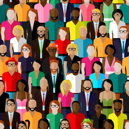 fashion illustration: vector seamless pattern with a large group of men and women. flat  illustration of society members. population