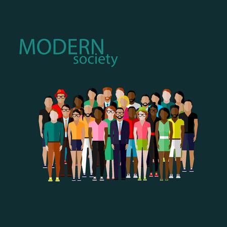 and people: Ilustración del vector del plano de los miembros de la sociedad con un gran grupo de hombres y mujeres. población. moderno concepto de la sociedad
