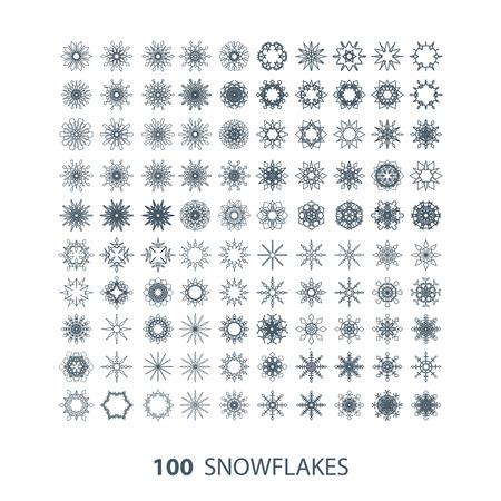 snowflake set: vector set of 100 graceful snowflakes