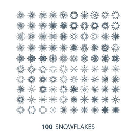 vector set of 100 graceful snowflakes