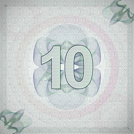 number 10: vector illustration of number 10 (ten) in guilloche ornate style. monetary banknote background
