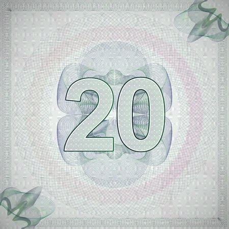 monetary: vector illustration of number 20 (twenty) in guilloche ornate style. monetary banknote background
