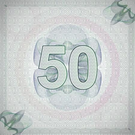 number 50: ilustraci�n vectorial de la n�mero 50 (cincuenta) en l�neas entrecruzadas estilo ornamentado. fondo billete monetaria