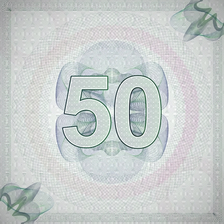 50 number: vector illustration of number 50 (fifty) in guilloche ornate style. monetary banknote background