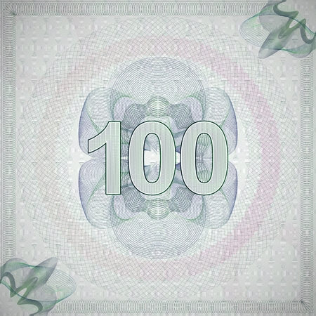 monetary: vector illustration of number 100 (one hundred) in guilloche ornate style. monetary banknote background Illustration